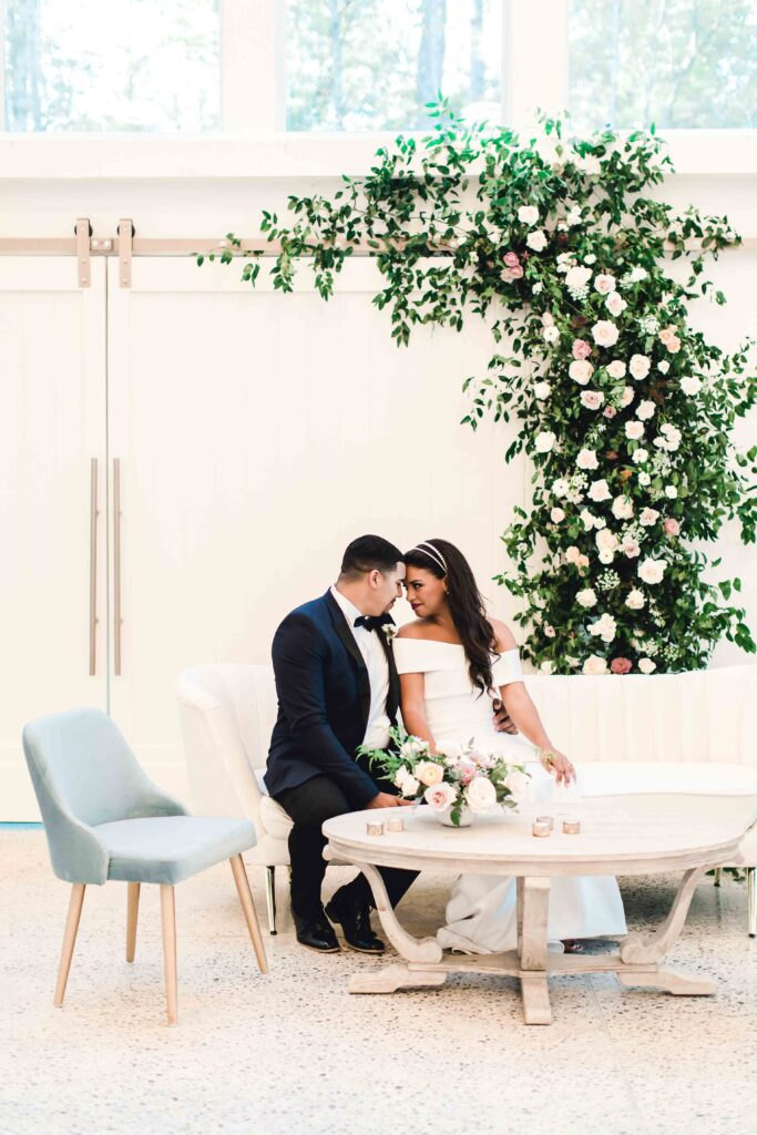 wedding lounge furniture with bride and groom