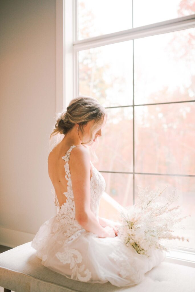 Bridal portrait in dressing suite