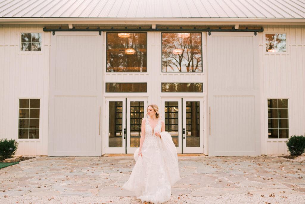 Bride in front of venue entrance